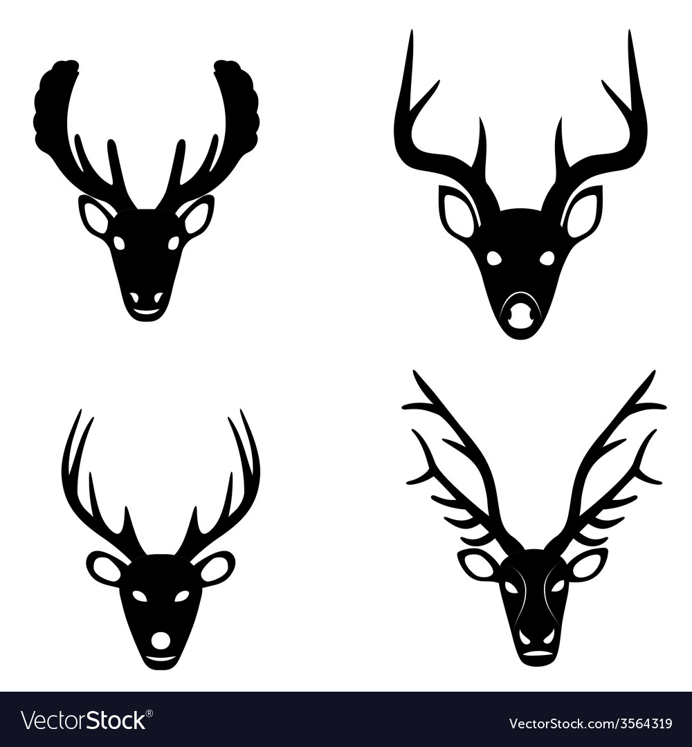 Collection of silhouettes of deer heads vector | Price: 1 Credit (USD $1)