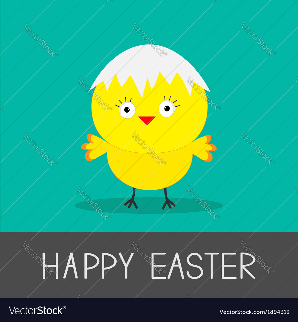 Easter chicken and eggshell flat design style card vector | Price: 1 Credit (USD $1)