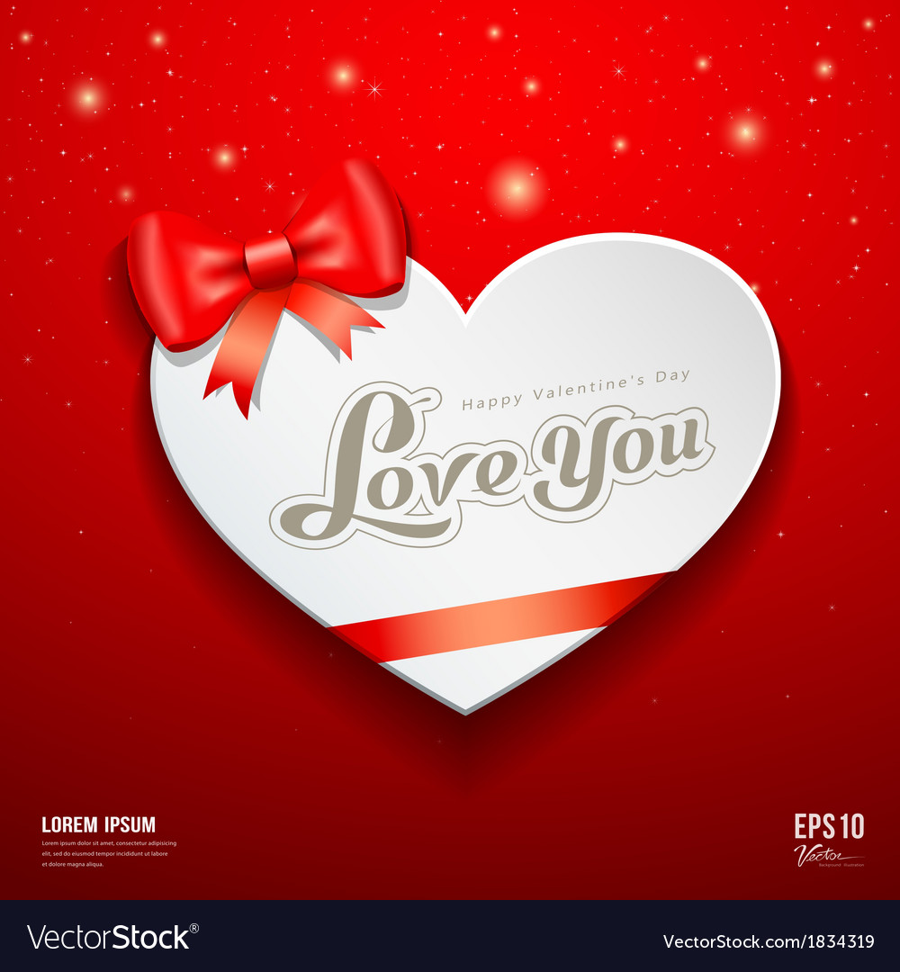 Happy valentine day greeting card and red ribbon vector | Price: 1 Credit (USD $1)