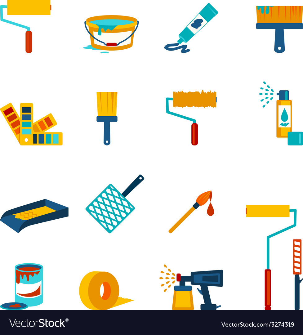 Painting icons flat vector | Price: 1 Credit (USD $1)