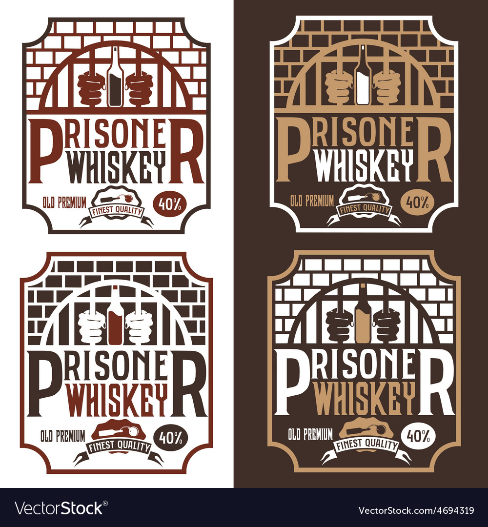 Prisoner whiskey vintage labels set design vector | Price: 1 Credit (USD $1)