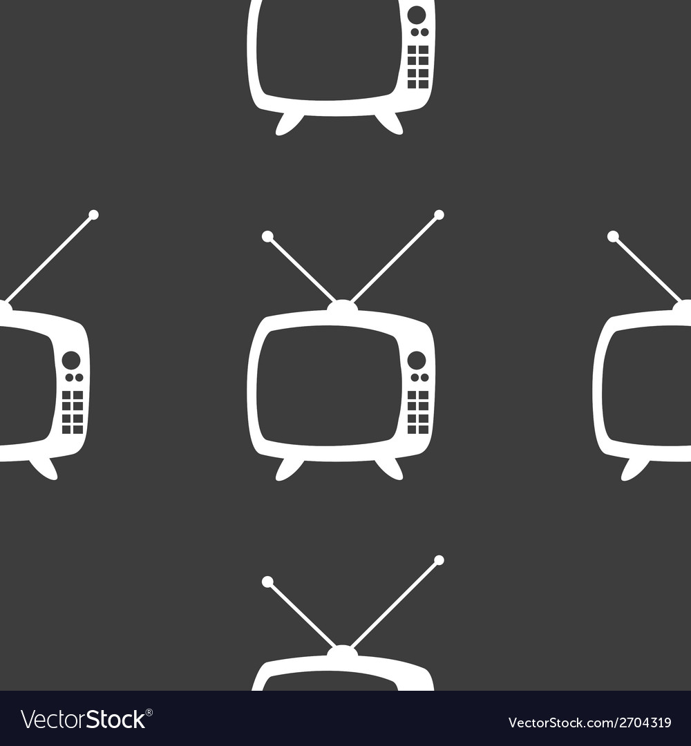 Retro tv web icon flat design seamless gray vector | Price: 1 Credit (USD $1)