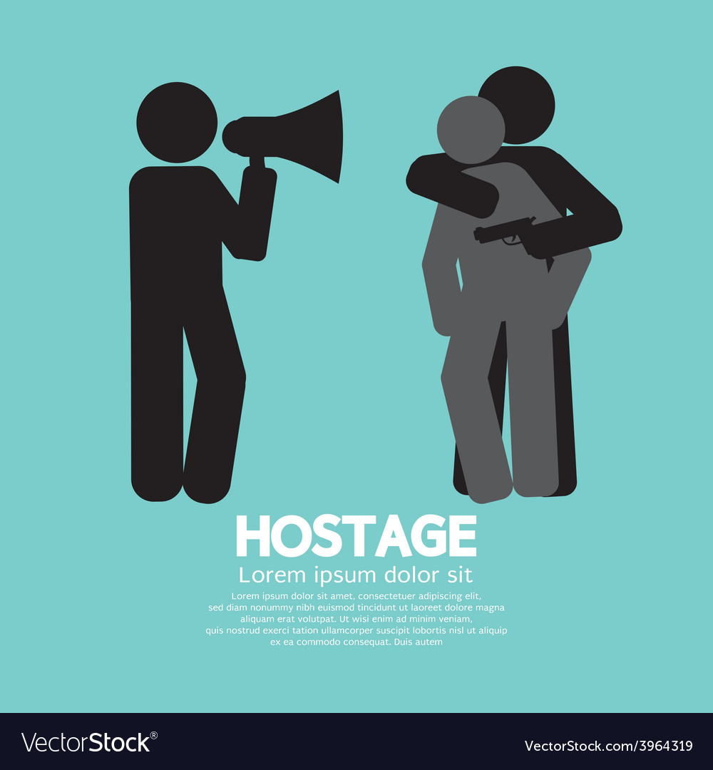 Robbery hostage and policeman graphic symbol vector | Price: 1 Credit (USD $1)