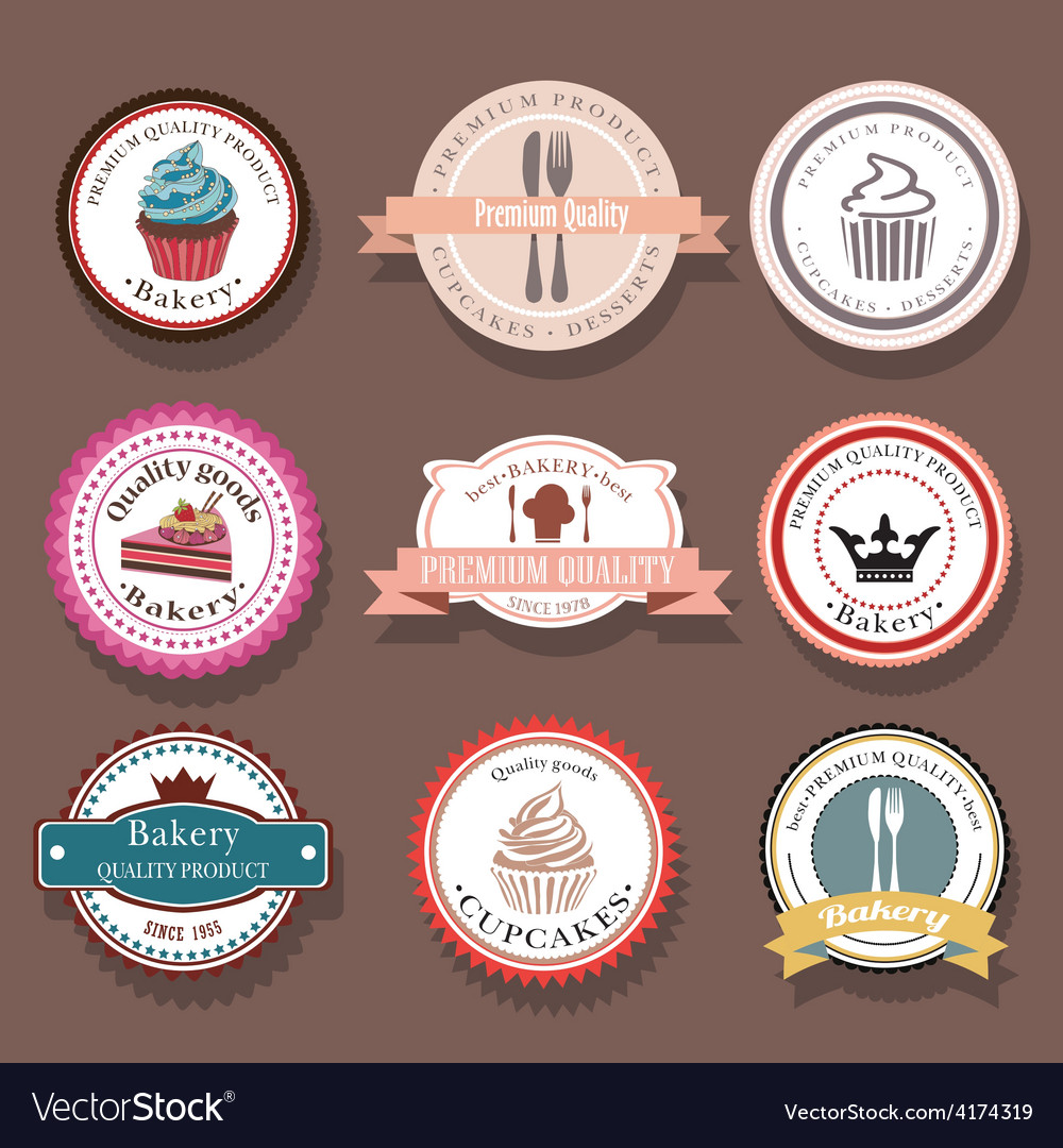 Set of bakery logo labels and badges vector | Price: 1 Credit (USD $1)