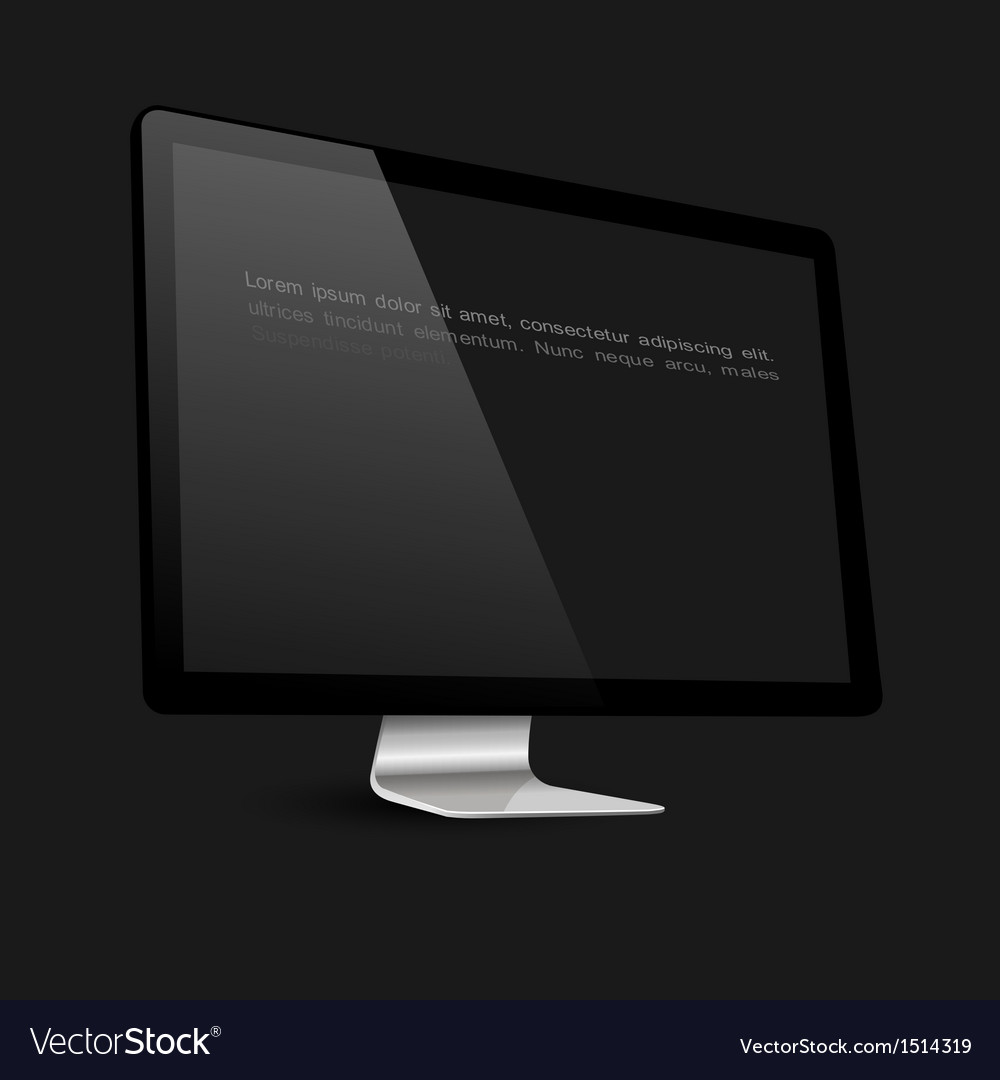Stylish computer black screen on black background vector | Price: 1 Credit (USD $1)