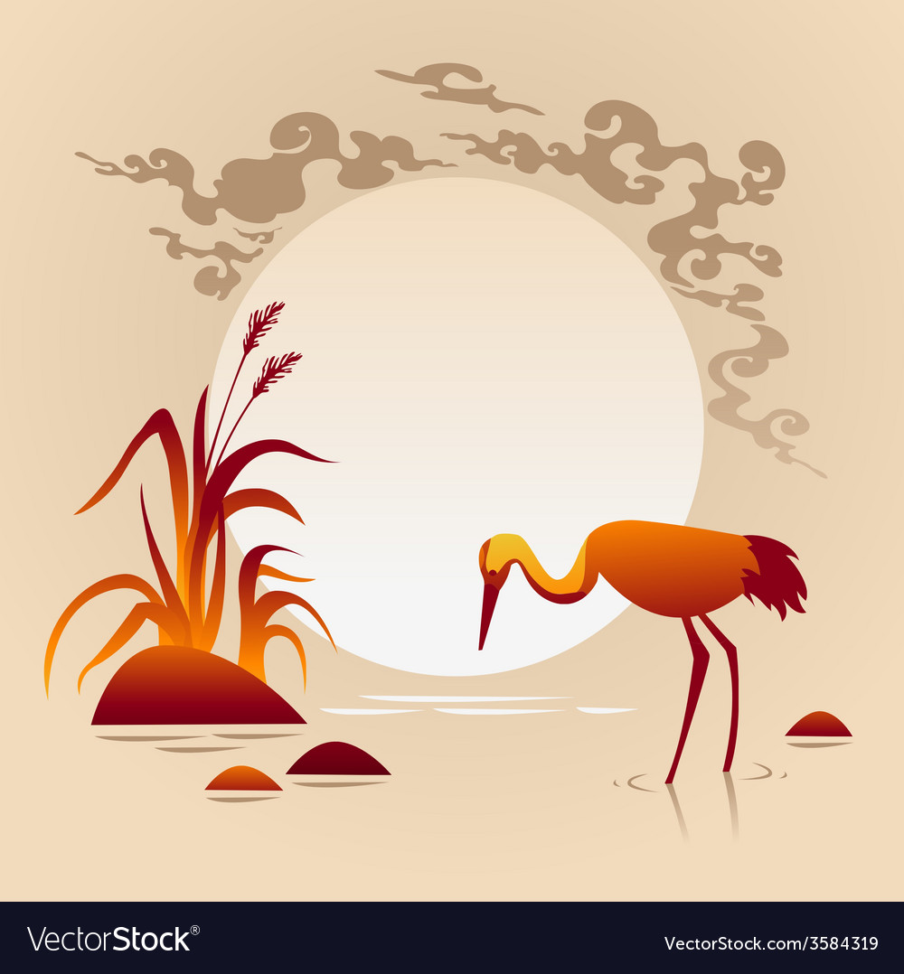 Sunset landscape with bird vector | Price: 1 Credit (USD $1)