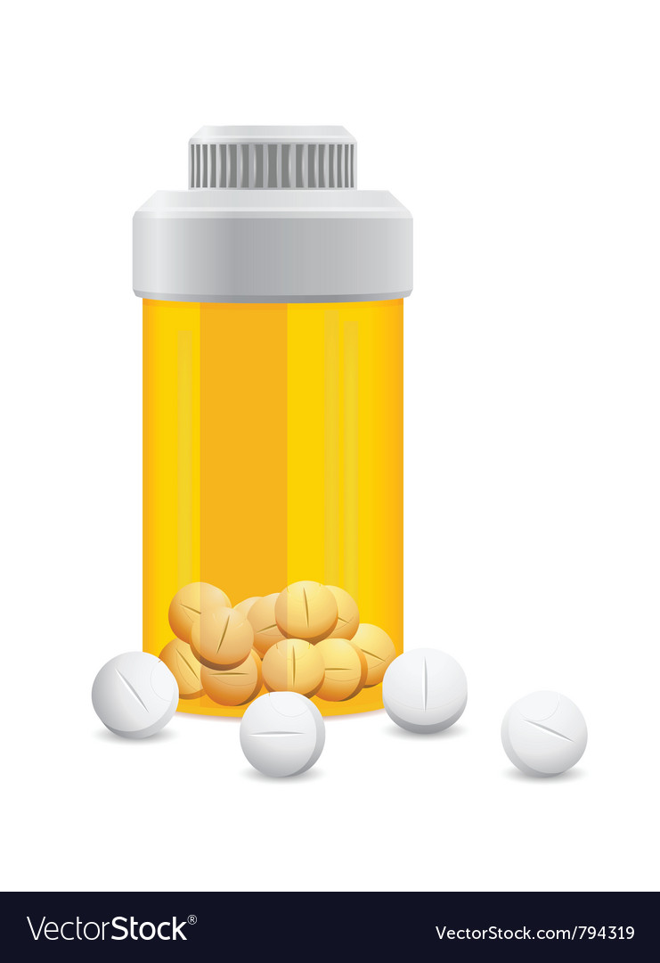 Yellow jar with the pills vector | Price: 1 Credit (USD $1)