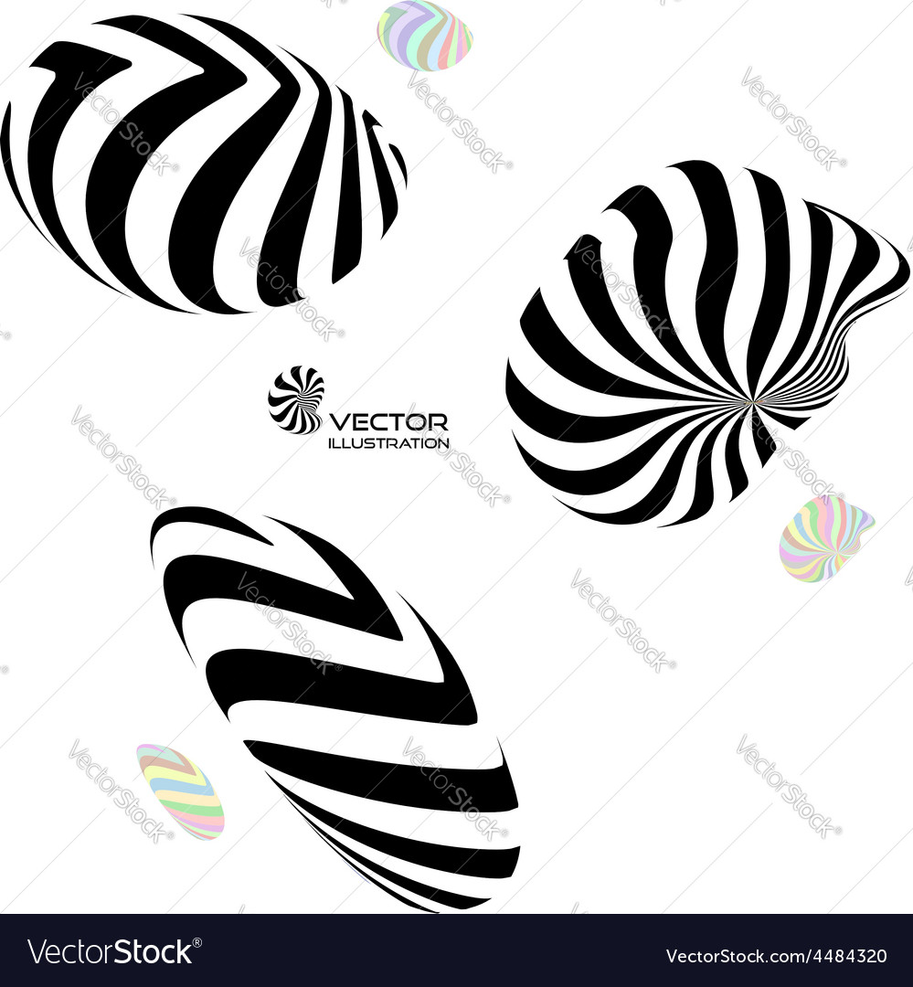 A set of different 3d striped geometric figures vector | Price: 1 Credit (USD $1)
