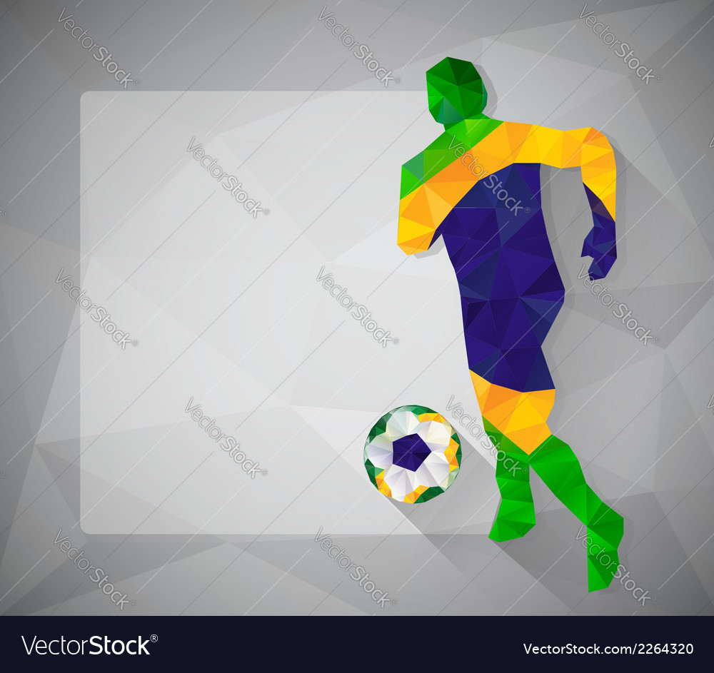 Brazilian football player with ball in triangles3 vector | Price: 1 Credit (USD $1)