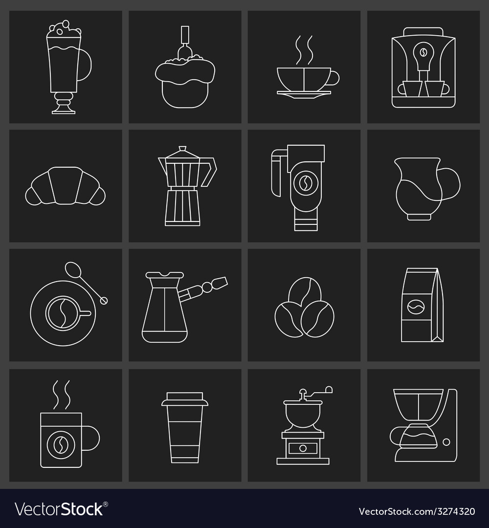 Coffee icons outline set vector   Price: 1 Credit (USD $1)