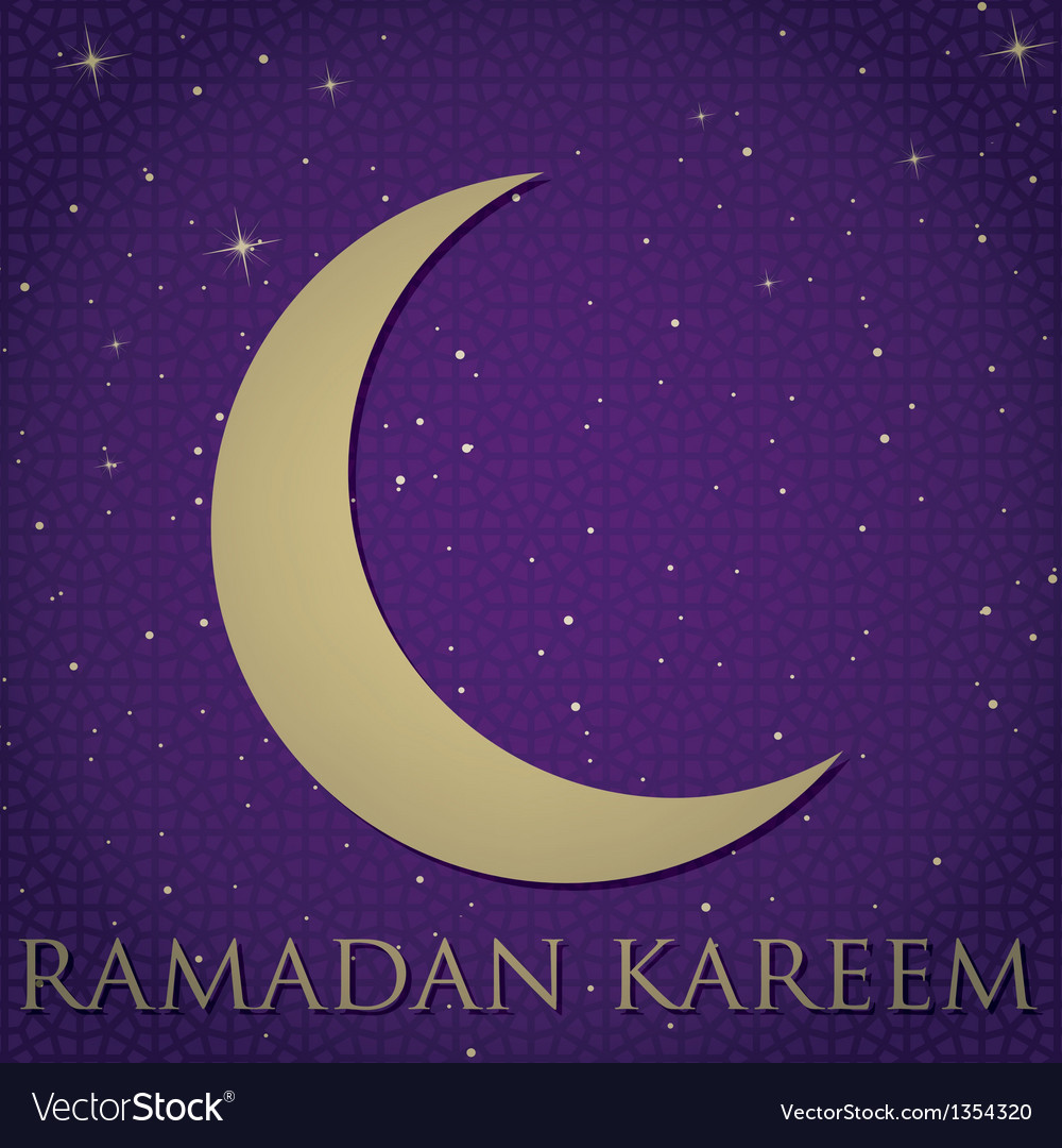 Crescent moon ramadan card vector | Price: 1 Credit (USD $1)