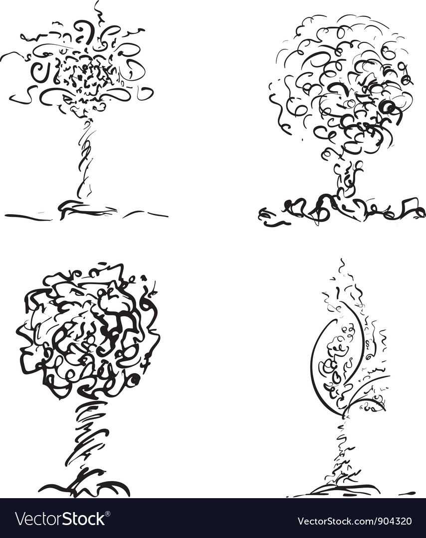 Design trees in sketch style vector | Price: 1 Credit (USD $1)