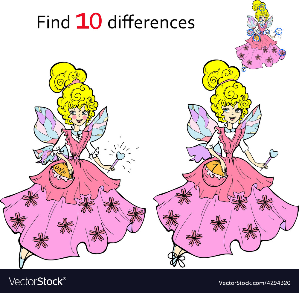 Find 10 differences beautiful fairy vector | Price: 1 Credit (USD $1)