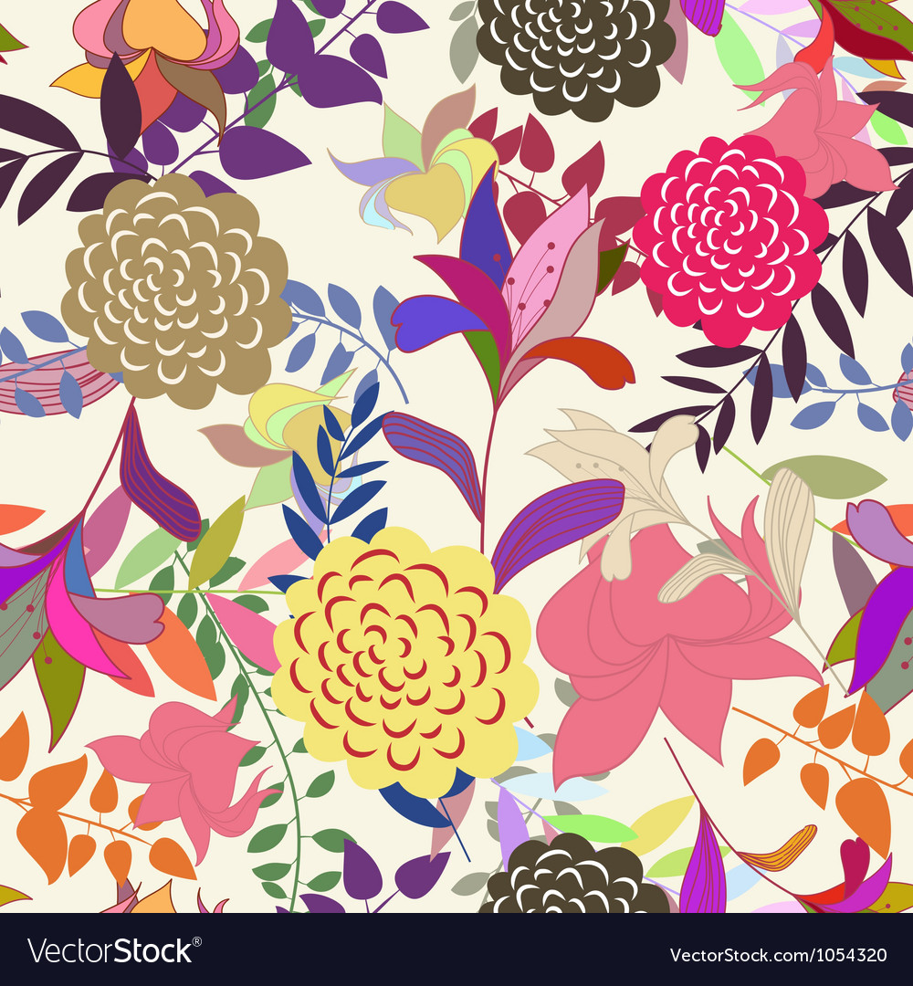 Floral s seamless color vector | Price: 1 Credit (USD $1)