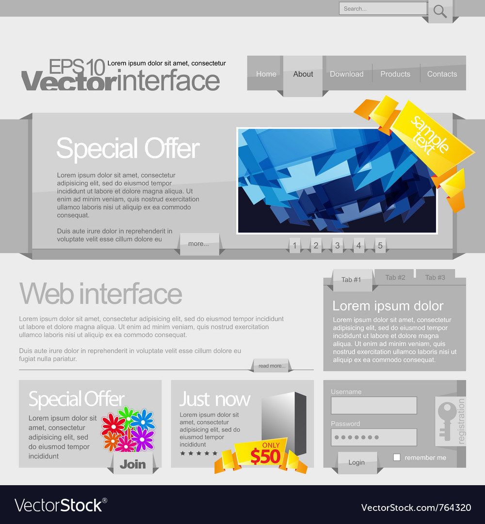 Gray website template 960 vector | Price: 3 Credit (USD $3)