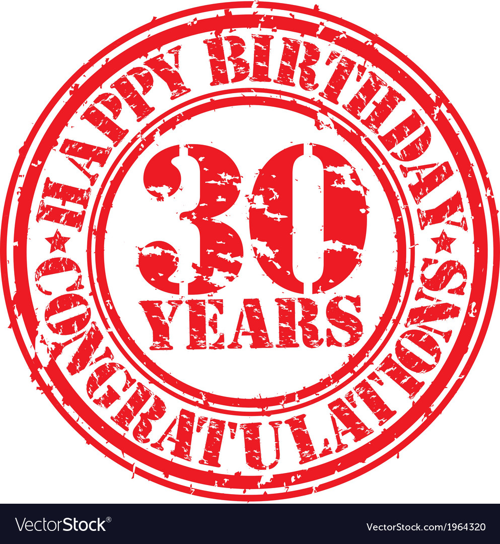 Happy birthday 30 years grunge rubber stamp vector | Price: 1 Credit (USD $1)