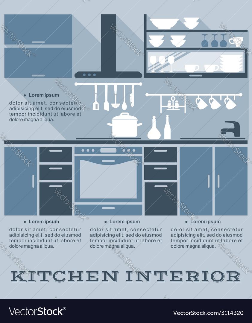 Kitchen interior flat design vector | Price: 1 Credit (USD $1)