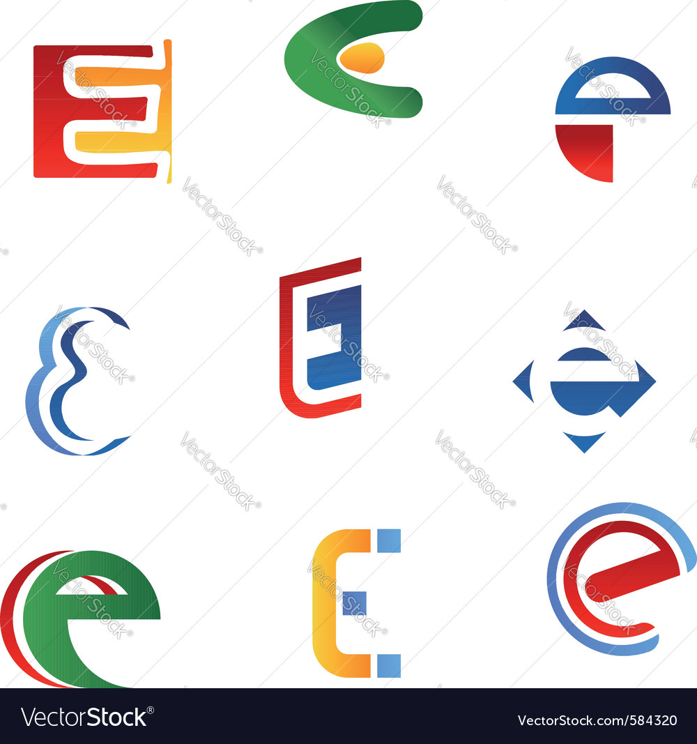 Letter e symbols and icons vector | Price: 1 Credit (USD $1)