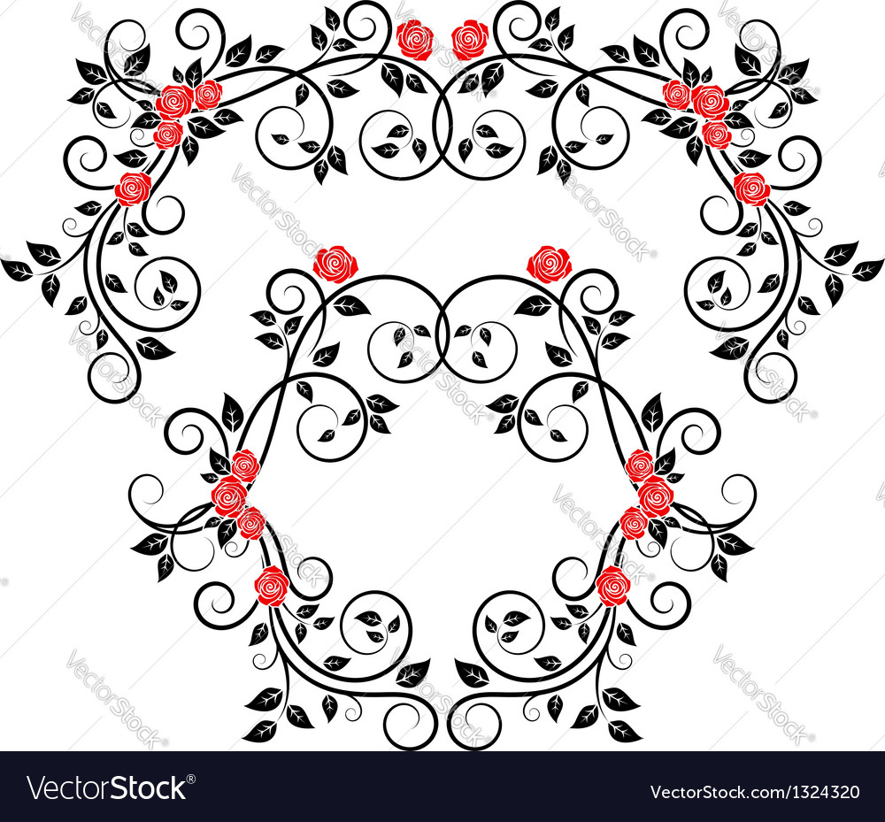 Roses on floral frame and border vector | Price: 1 Credit (USD $1)