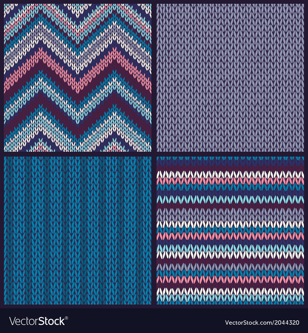 Seamless knitted pattern set vector | Price: 1 Credit (USD $1)