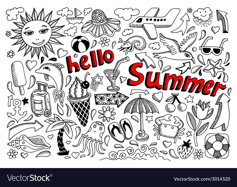 Set of sketch design element summer theme with vector | Price: 1 Credit (USD $1)