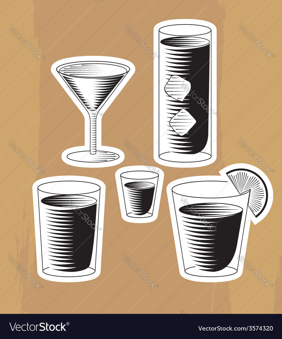 Set of woodcut cocktails vector | Price: 1 Credit (USD $1)