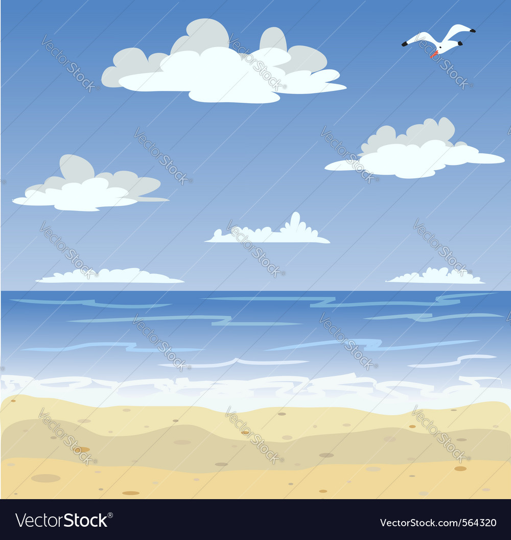 Sunny sea beach and blue sky vector | Price: 1 Credit (USD $1)