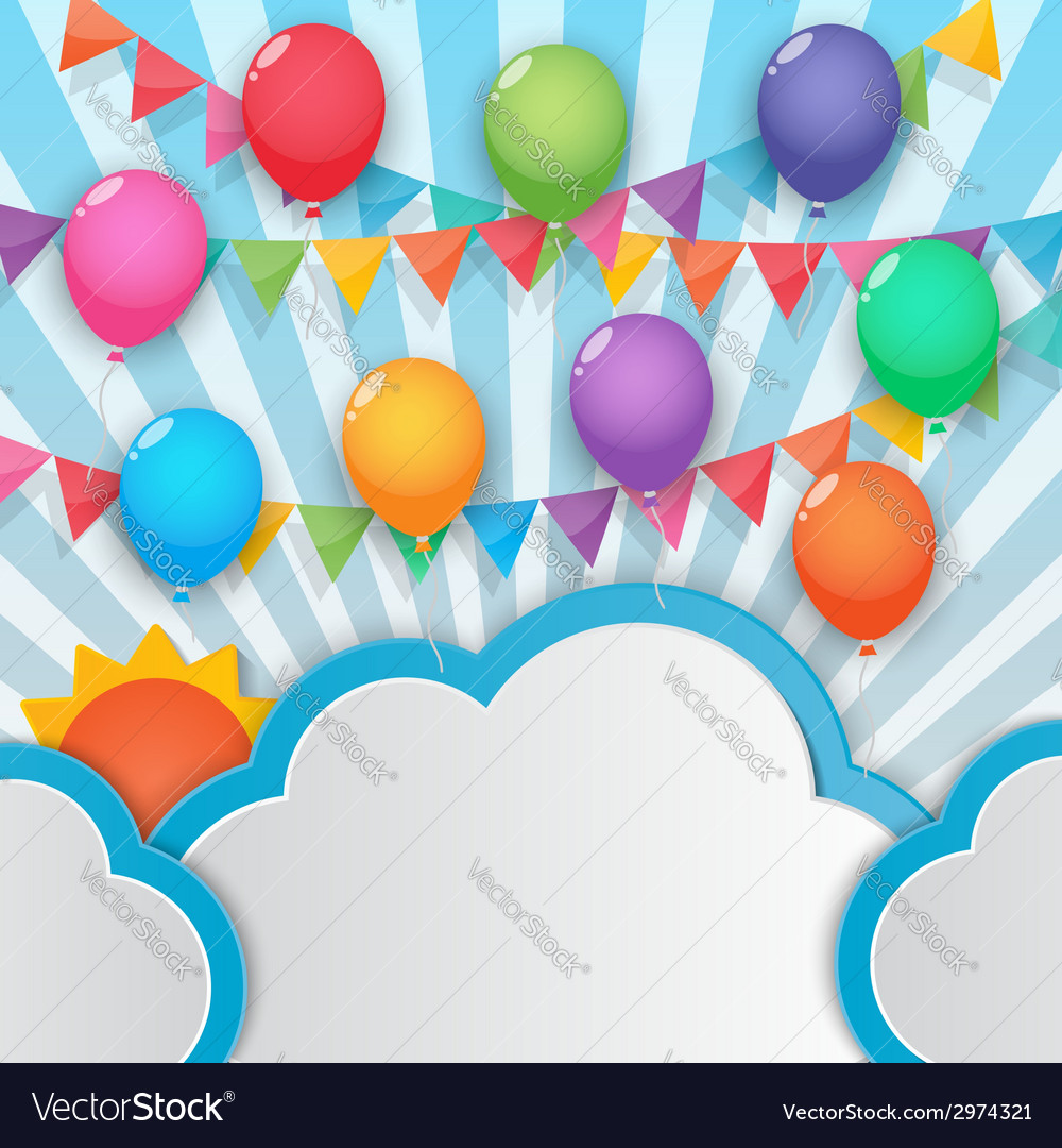 Balloon and party flags sky background vector | Price: 1 Credit (USD $1)