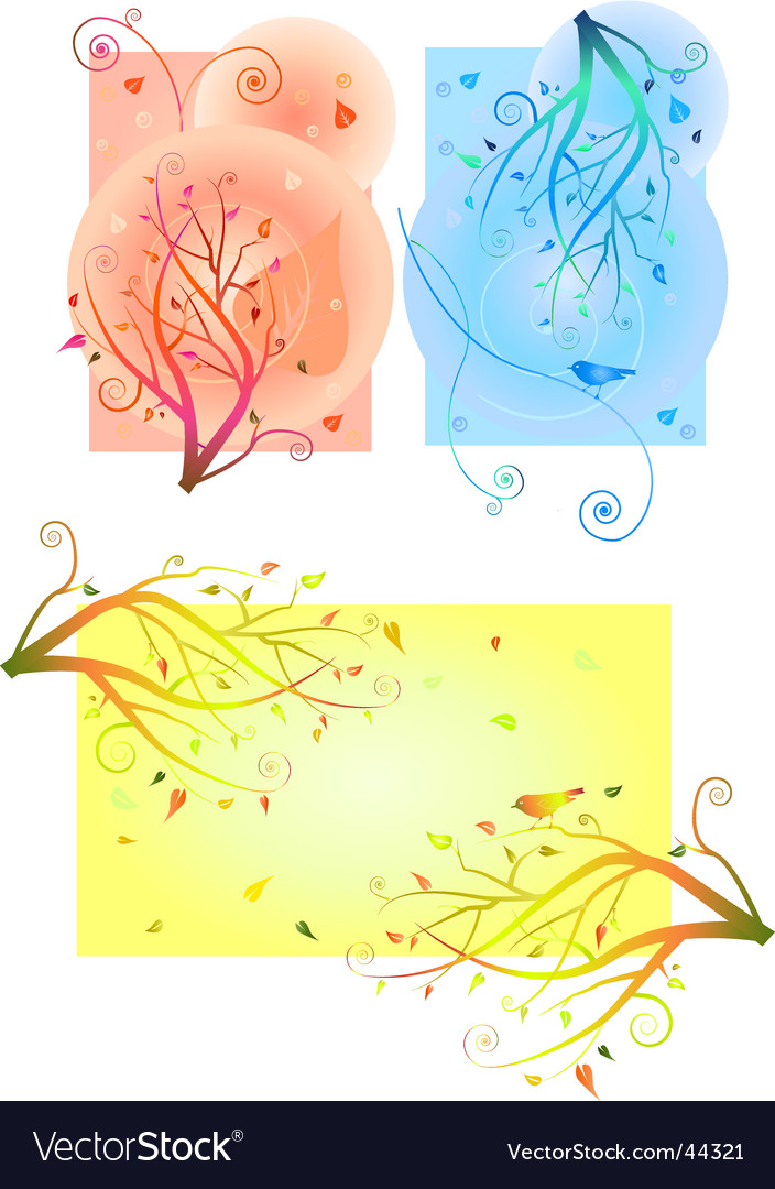 Birds and trees vector | Price: 1 Credit (USD $1)