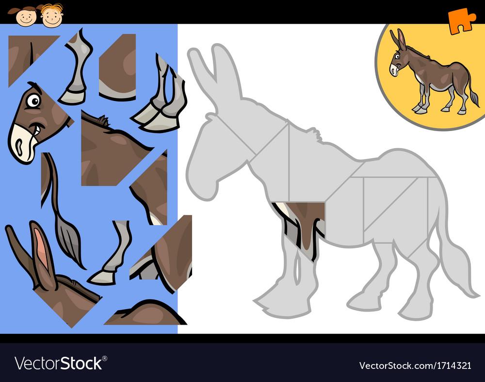 Cartoon farm donkey puzzle game vector | Price: 1 Credit (USD $1)