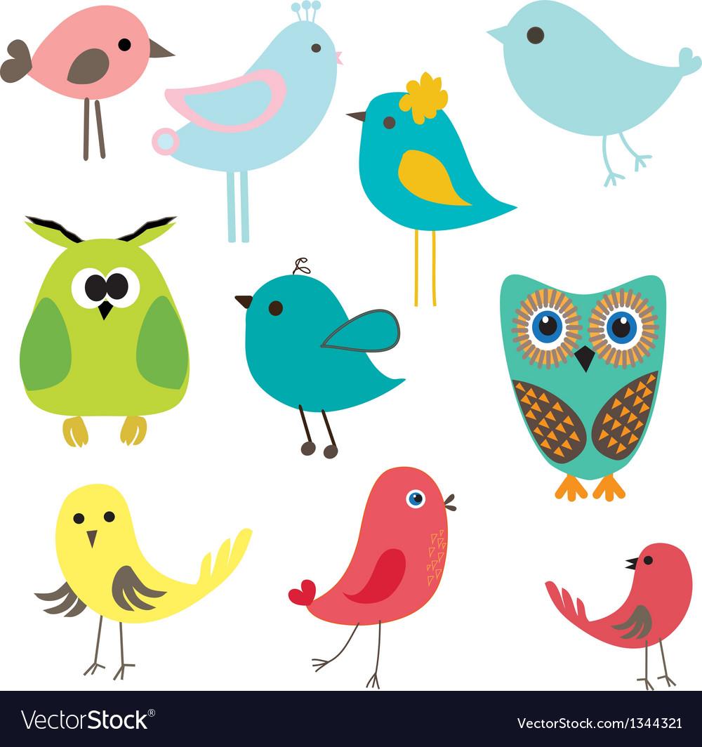 Cute birds set vintage vector | Price: 1 Credit (USD $1)