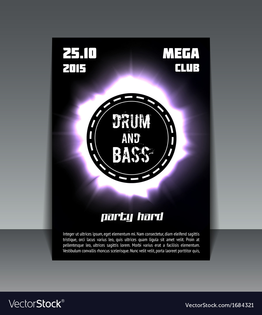 Drum and bass party flyer vector | Price: 1 Credit (USD $1)