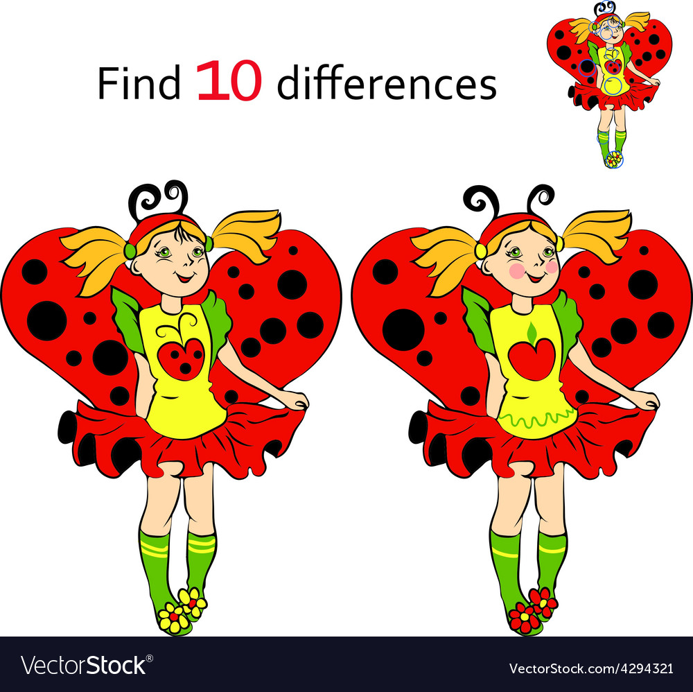 Find 10 differences girl in costume ladybug vector | Price: 1 Credit (USD $1)