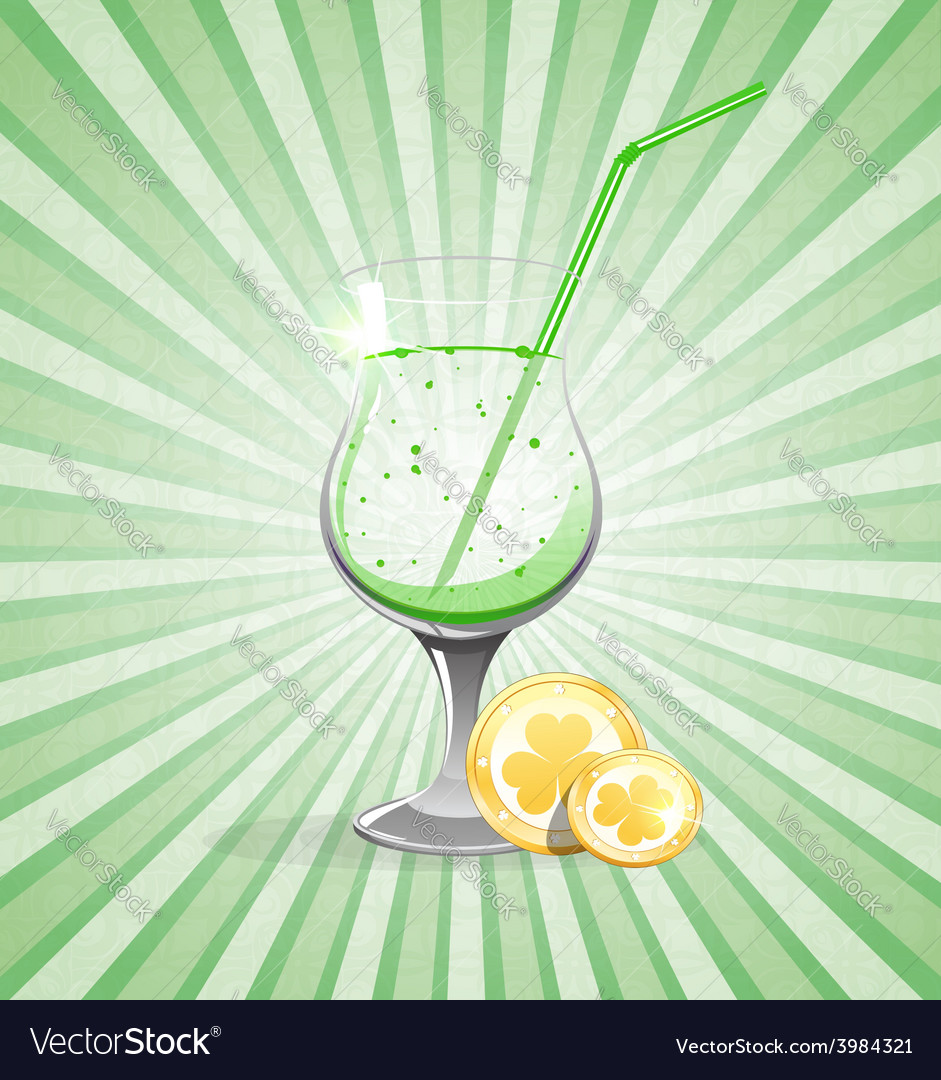 Gold coins and leprechaun cocktail vector | Price: 1 Credit (USD $1)