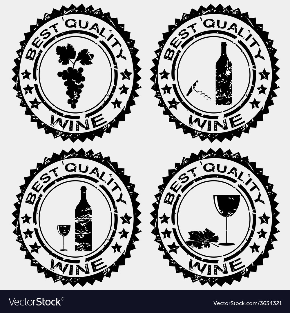 Grunge rubber stamps with wine symbols vector | Price: 1 Credit (USD $1)