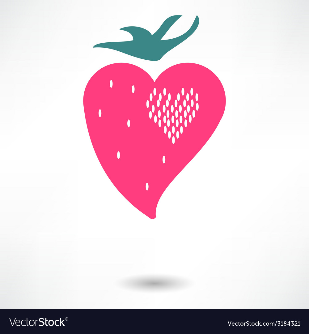 The heart of the character of strawberries vector | Price: 1 Credit (USD $1)