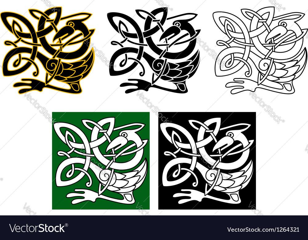 Heron bird in celtic ornament vector | Price: 1 Credit (USD $1)