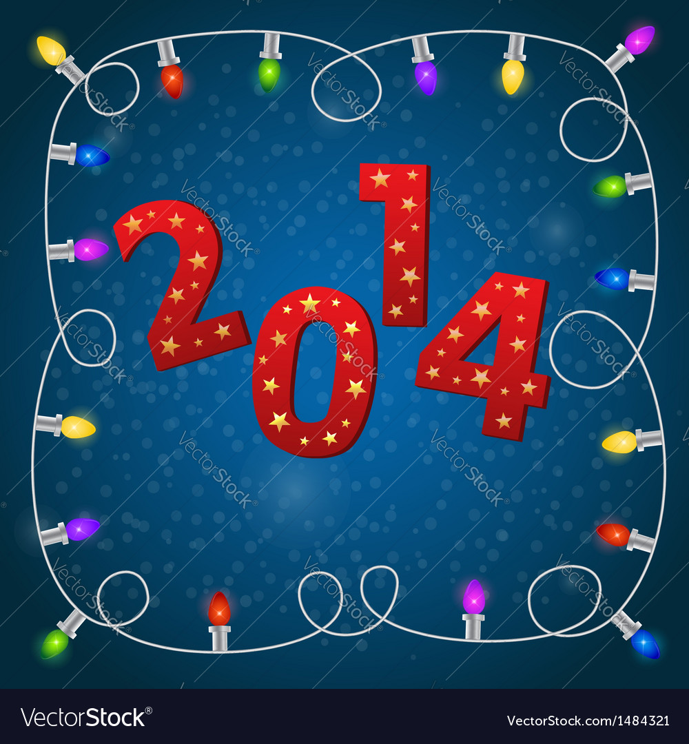New year card with colorful christmas garland vector | Price: 1 Credit (USD $1)
