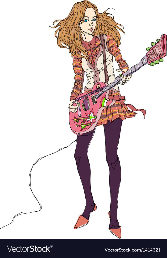Rock chick playing electric guitar vector | Price: 3 Credit (USD $3)