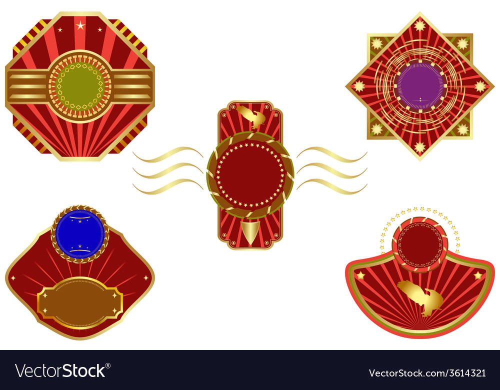 Set of golden design elements vector | Price: 1 Credit (USD $1)
