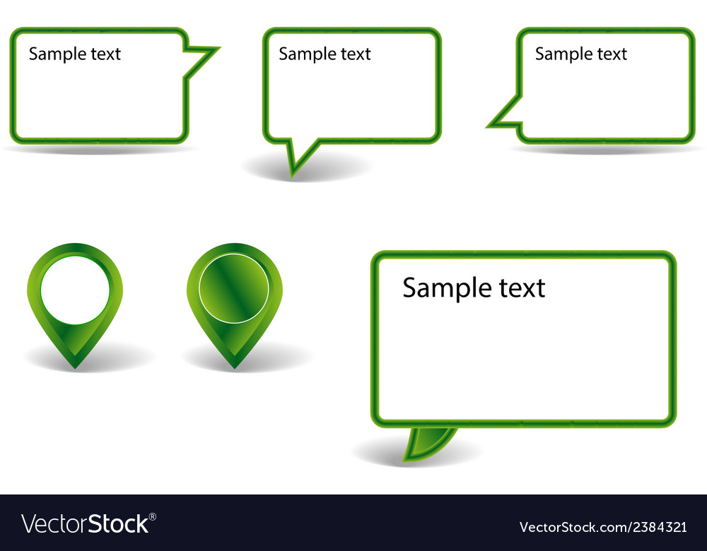 Set of green pointers on white background with vector | Price: 1 Credit (USD $1)