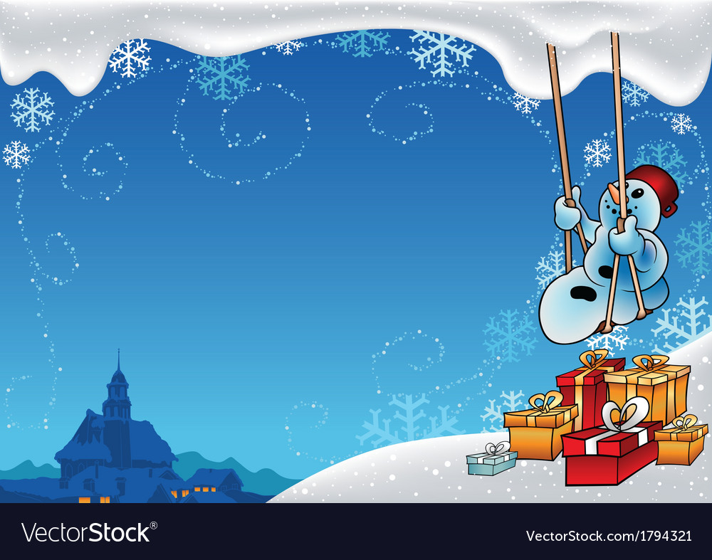 Snowman and swing vector | Price: 1 Credit (USD $1)