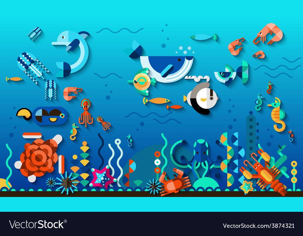 Underwater world concept vector   Price: 1 Credit (USD $1)