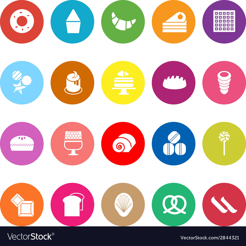 Variety bakery flat icons on white background vector | Price: 1 Credit (USD $1)