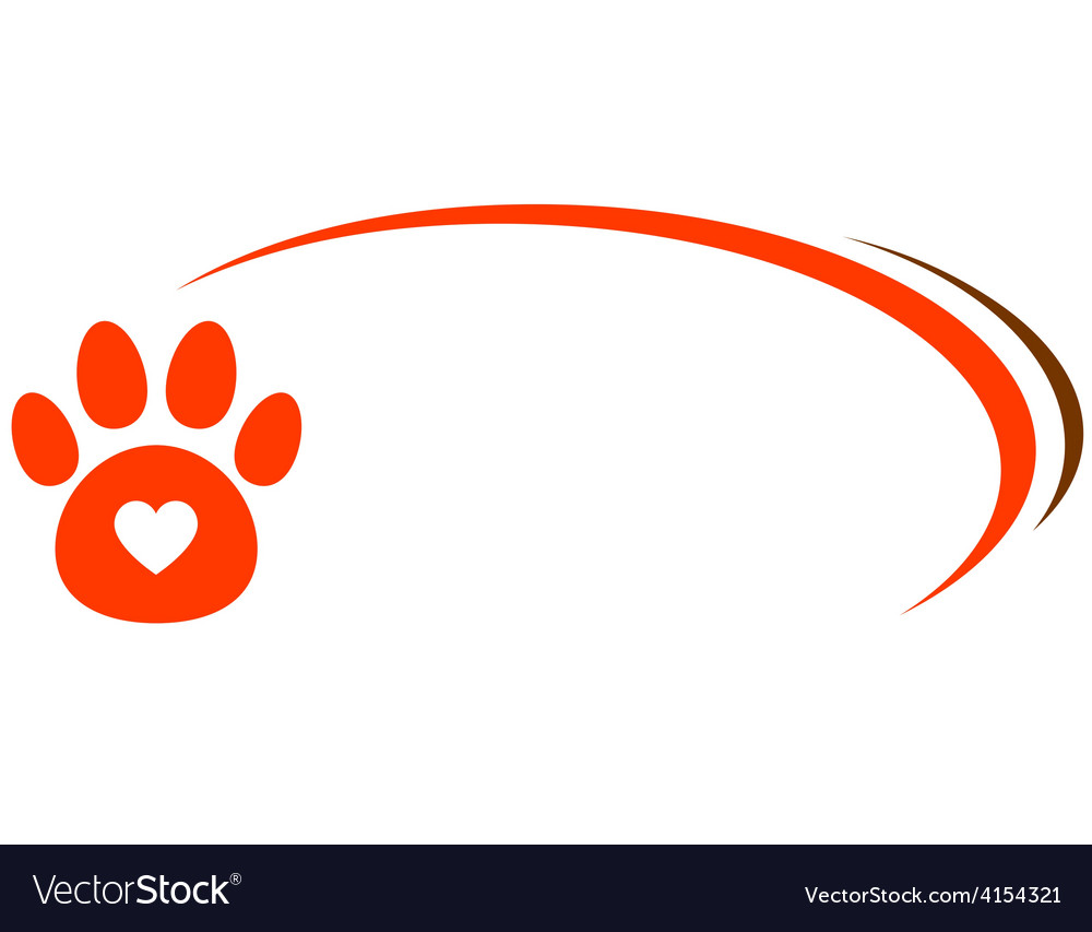 Veterinarian background with paw and heart vector | Price: 1 Credit (USD $1)
