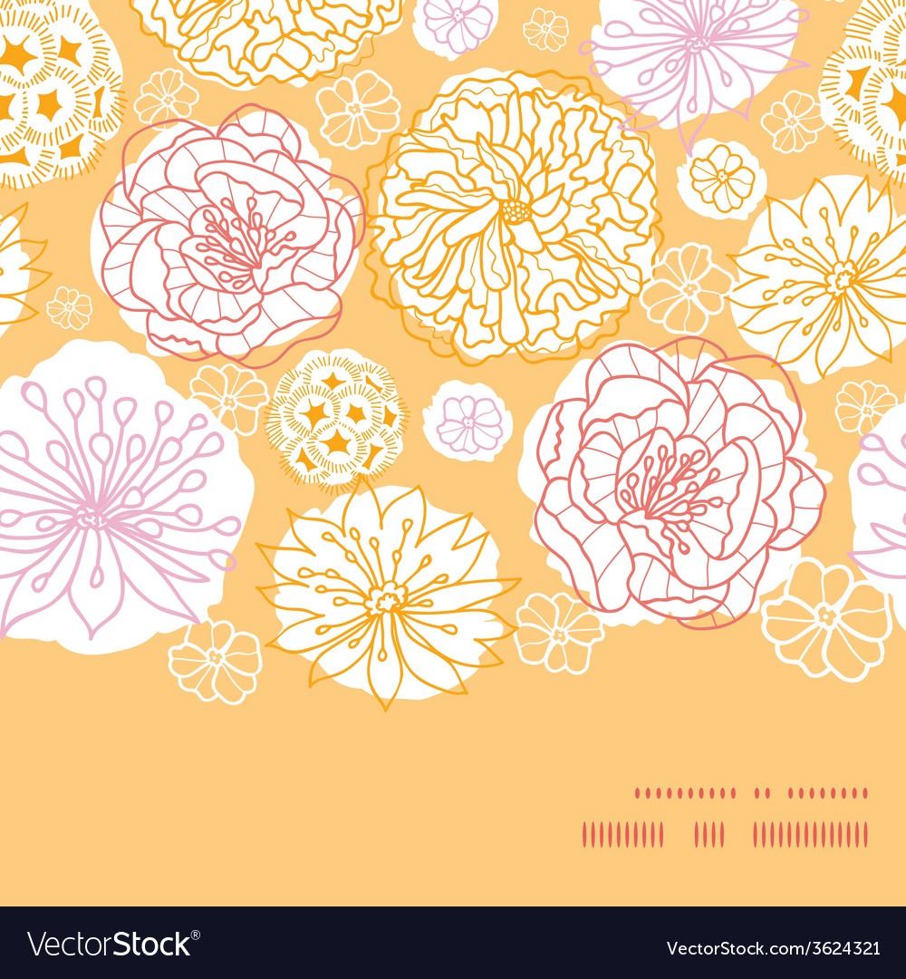 Warm day flowers horizontal frame seamless pattern vector | Price: 1 Credit (USD $1)