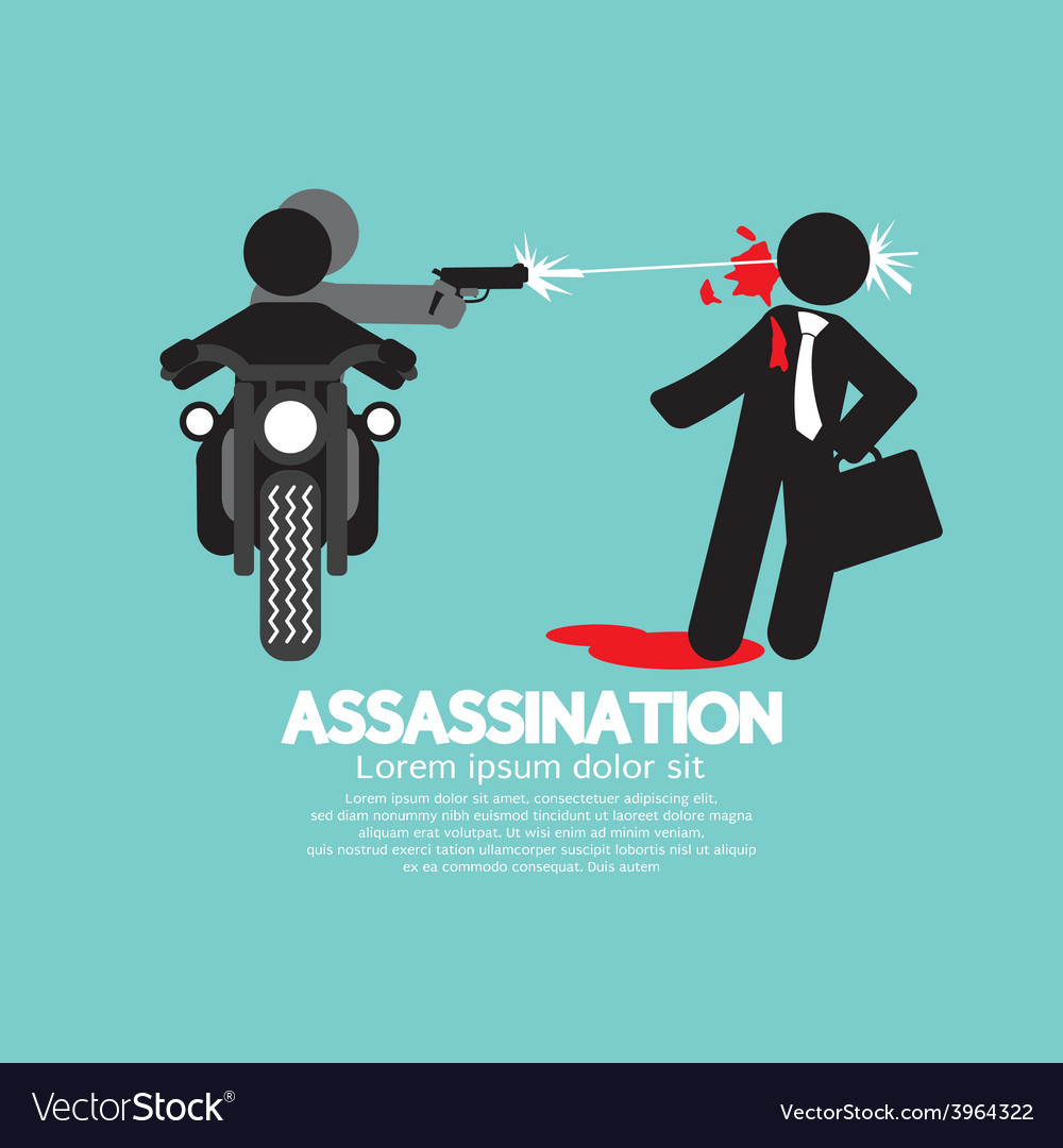Assassination shooting from the motorcycle vector