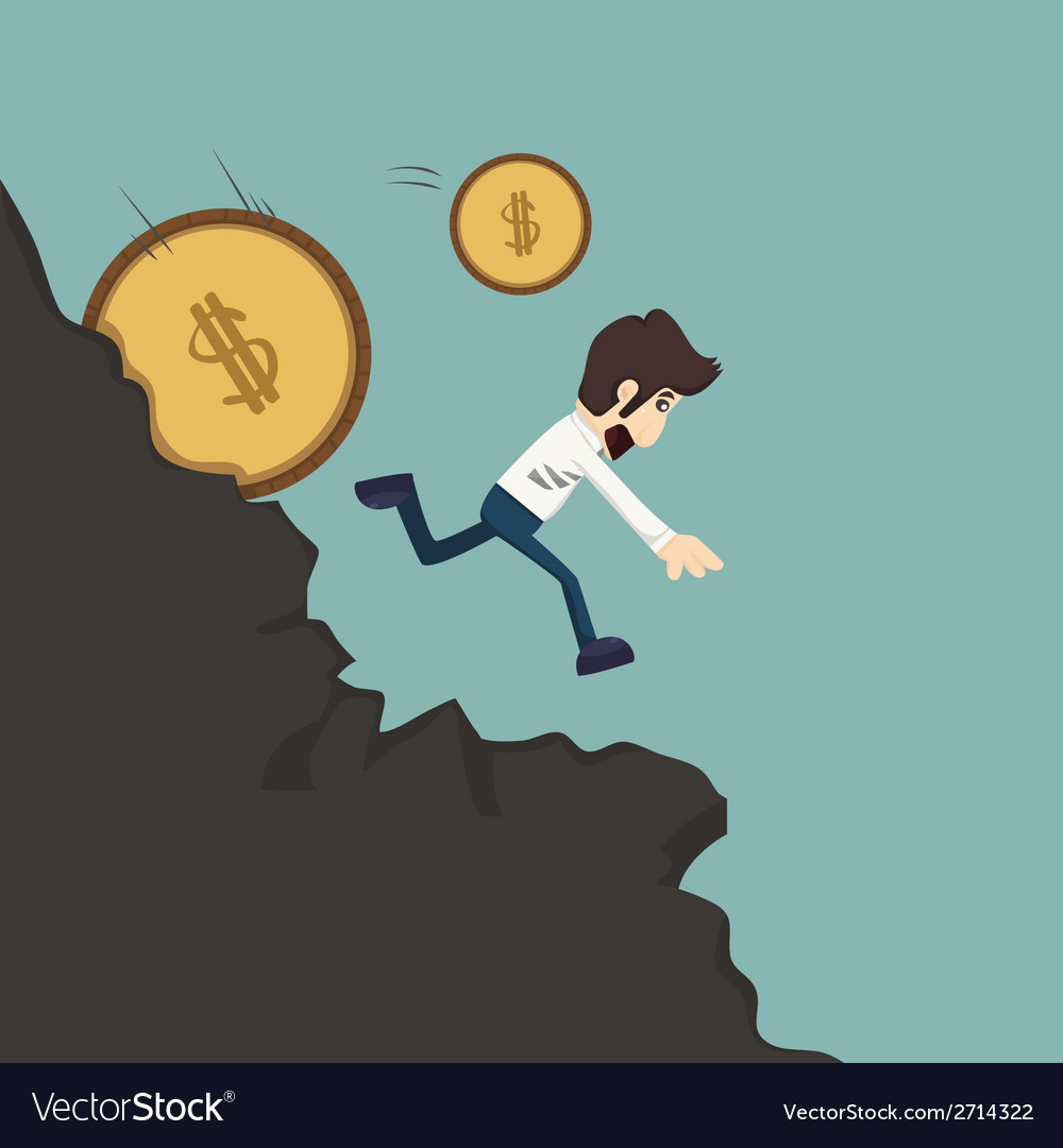 Businessman pushing coin vector | Price: 1 Credit (USD $1)