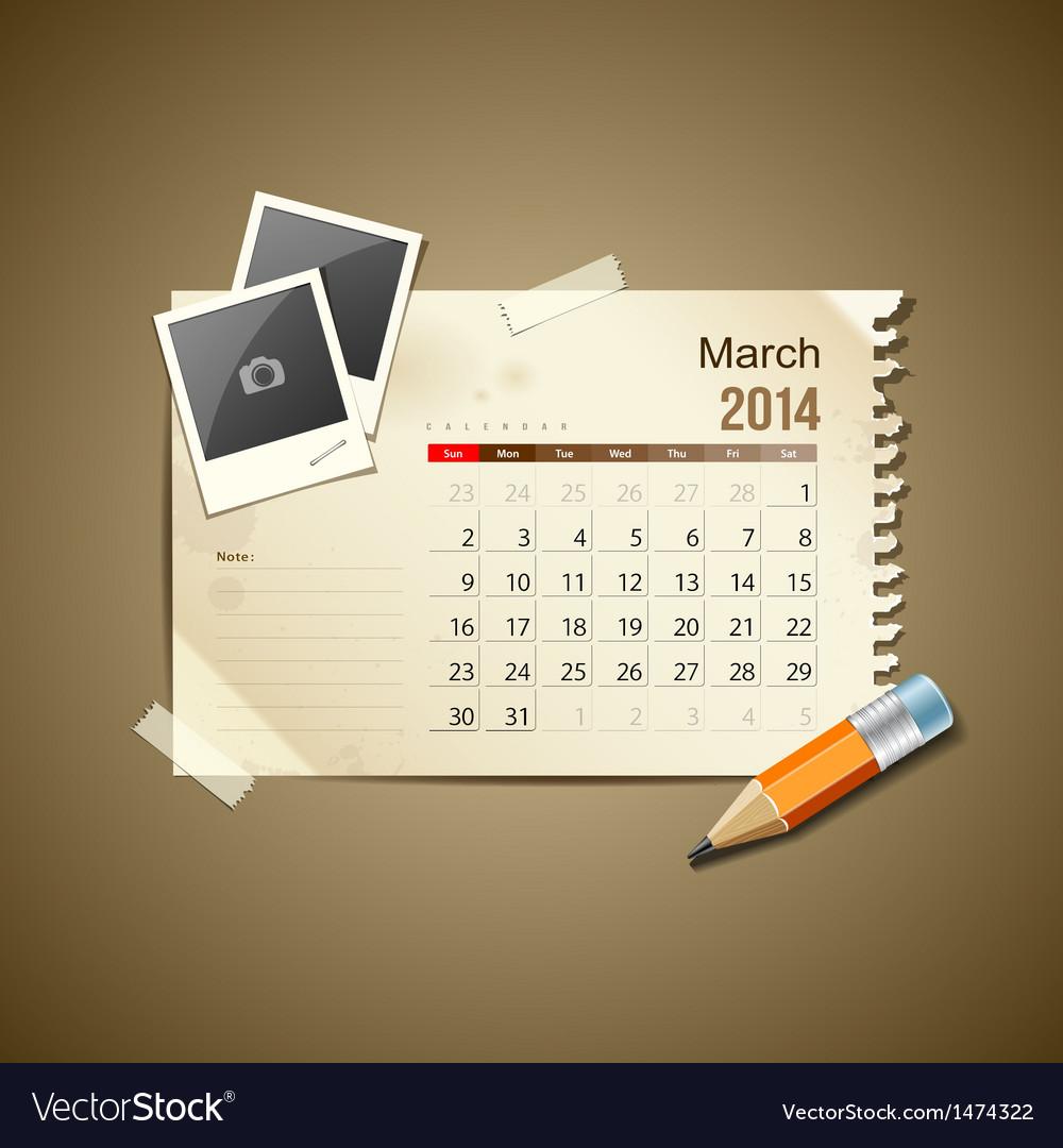 Calendar march 2014 vector | Price: 1 Credit (USD $1)