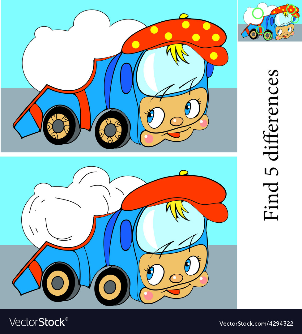 Cartoon of finding differences vector   Price: 1 Credit (USD $1)